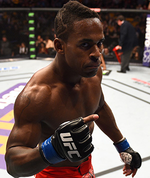 Lorenz Larkin reacts after defeating John Howard in their welterweight fight during the UFC Fight Night event at the TD Garden on January 18, 2015 in Boston, Massachusetts. (Photo by Jeff Bottari/Zuffa LLC)