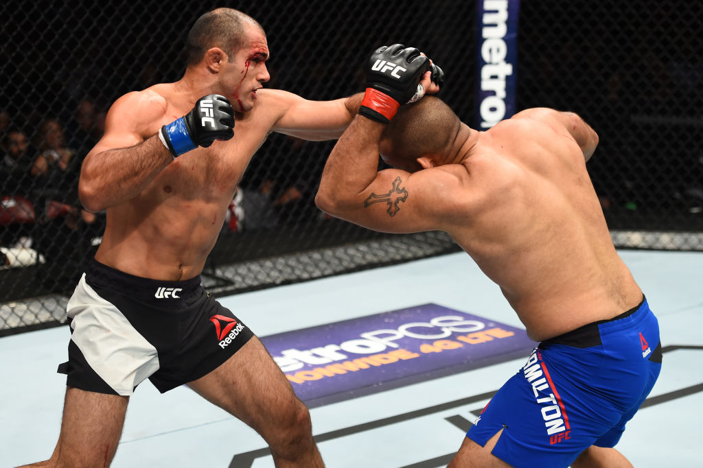 HOUSTON, TX - FEBRUARY 04:  (L-R) Marcel Fortuna of Brazil punches Anthony Hamilton in their heavyweight bout during the UFC Fight Night event at the Toyota Center on February 4, 2017 in Houston, Texas. (Photo by Jeff Bottari/Zuffa LLC)