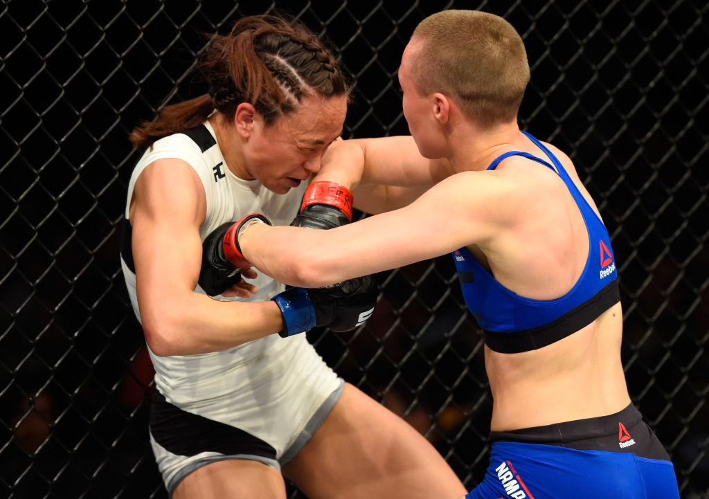 KANSAS CITY, MO - APRIL 15: (R-L) Rose Namajunas elbows Michelle Waterson in their women's strawweight fight during the UFC Fight Night event at Sprint Center on April 15, 2017 in Kansas City, Missouri. (Photo by Josh Hedges/Zuffa LLC)