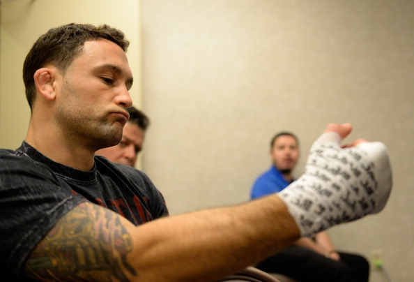 LAS VEGAS, NV - JULY 6:  Frankie Edgar gets his hands wrapped before his fight against Frankie Edgar during the Ultimate Fighter Finale inside the Mandalay Bay Events Center in Las Vegas on July 6, 2014 in Las Vegas, Nevada. (Photo by Brandon Magnus/Zuffa LLC/Zuffa LLC via Getty Images)