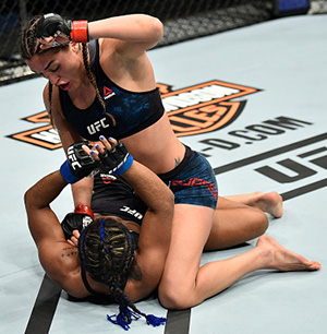 Tatiana Suarez controls the body of Viviane Pereira of Brazil in their women's strawweight bout during the UFC Fight Night event inside the Ted Constant Convention Center on November 11, 2017 in Norfolk, Virginia. (Photo by Brandon Magnus/Zuffa LLC)