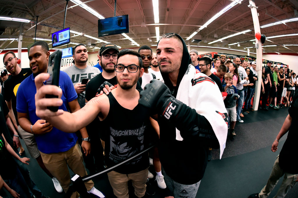 ORLANDO, FL - FEBRUARY 21: Mike Perry interacts with fans at UFC GYM Orlando on February 21, 2018 in Orlando, Florida. (Photo by Jeff Bottari/Zuffa LLC)