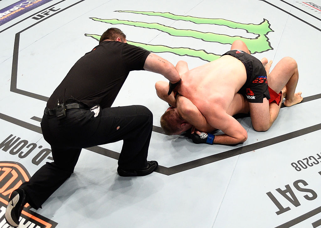 Aleksei Oleinik submits Viktor Pesta during the <a href='../event/UFC-Silva-vs-Irvin'>UFC Fight Night </a>event on January 15, 2017 in Phoenix, Arizona. (Photo by Jeff Bottari/Zuffa LLC)