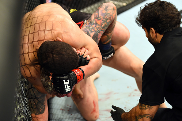 SAO PAULO, BRAZIL - OCTOBER 28:  (L-R) Marcelo Golm attempts to submit Christian Colombo of Denmark in their heavyweight bout during the UFC Fight Night event inside the Ibirapuera Gymnasium on October 28, 2017 in Sao Paulo, Brazil. (Photo by Josh Hedges/Zuffa LLC/Zuffa LLC via Getty Images)