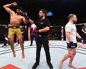 <a href='../fighter/Deiveson-Alcantara'><a href='../fighter/Deiveson-Alcantara'>Deiveson Figueiredo</a></a> of Brazil celebrates after defeating <a href='../fighter/jarred-brooks'><a href='../fighter/jarred-brooks'>Jarred Brooks</a></a> in their flyweight bout during the UFC Fight Night event inside the Ibirapuera Gymnasium on October 28, 2017 in Sao Paulo, Brazil. (Photo by Josh Hedges/Zuffa LLC)