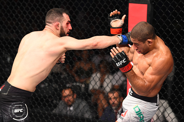 SAO PAULO, BRAZIL - OCTOBER 28:  (L-R) Jared Gordon punches Hacran Dias of Brazil in their lightweight bout during the UFC Fight Night event inside the Ibirapuera Gymnasium on October 28, 2017 in Sao Paulo, Brazil. (Photo by Josh Hedges/Zuffa LLC/Zuffa LLC via Getty Images)