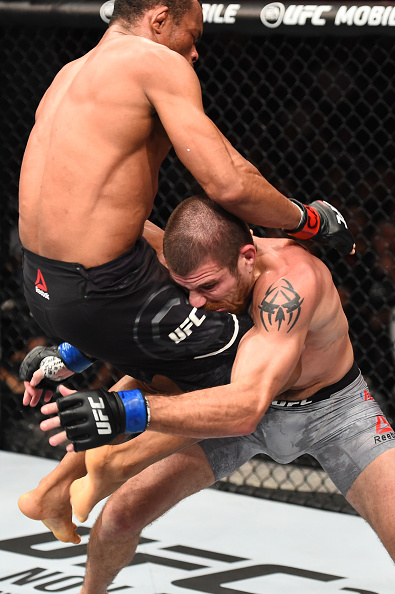 <a href='../fighter/Francisco-Trinaldo'><a href='../fighter/Francisco-Trinaldo'>Francisco Trinaldo</a></a> lands a knee to the face of <a href='../fighter/Jim-Miller'><a href='../fighter/Jim-Miller'>Jim Miller</a></a> in their lightweight bout during the UFC Fight Night on Oct. 28, 2017 in Sao Paulo, Brazil. (Photo by Josh Hedges/Zuffa LLC)