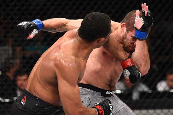 SAO PAULO, BRAZIL - OCTOBER 28:  (L-R) Francisco Trinaldo of Brazil punches Jim Miller in their lightweight bout during the UFC Fight Night event inside the Ibirapuera Gymnasium on October 28, 2017 in Sao Paulo, Brazil. (Photo by Josh Hedges/Zuffa LLC/Zuffa LLC via Getty Images)