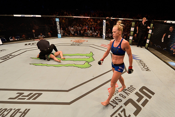 Holly Holm reacts after her knockout victory over Bethe Correia during the UFC Fight Night event on June 17, 2017 in Singapore. (Photo by Brandon Magnus/Zuffa LLC)