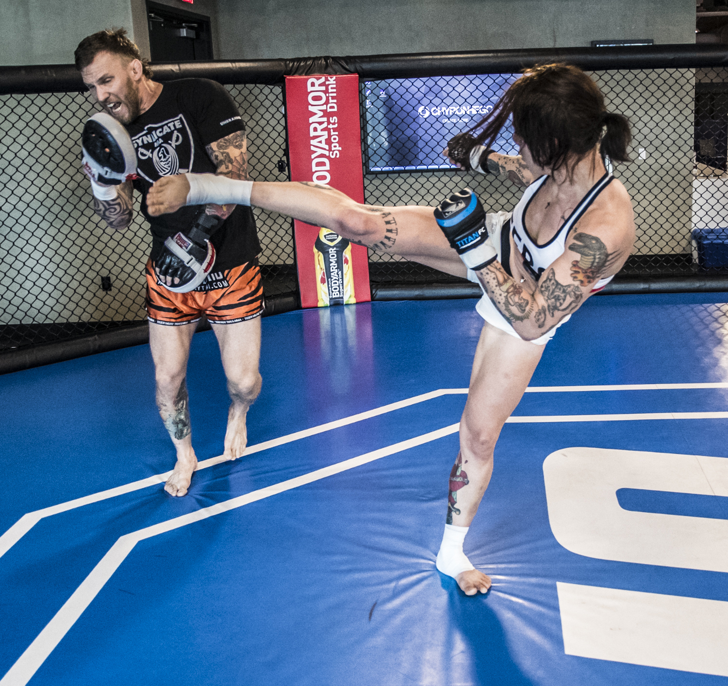 Syndicate MMA's John Wood and Jessica-Rose Clark (Photo by Juan Cardenas/Zuffa LLC)