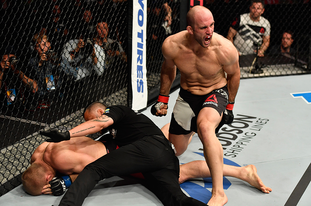 Volkan Oezdemir reacts after finishing Misha Cirkunov in 28 seconds earlier this year