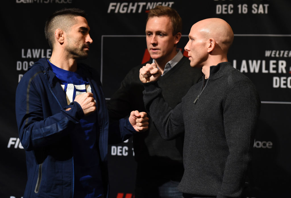 Josh Emmett faces off with Ricardo Lamas ahead of their featherweight bout at Fight Night Winnipeg