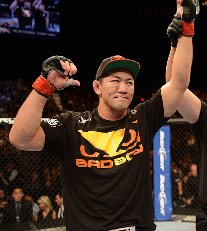LAS VEGAS, NV - DECEMBER 29:  Yushin Okami reacts to his victory over Alan Belcher after their middleweight fight at UFC 155 on December 29, 2012 at MGM Grand Garden Arena in Las Vegas, Nevada. (Photo by Donald Miralle/Zuffa LLC/Zuffa LLC via Getty Images