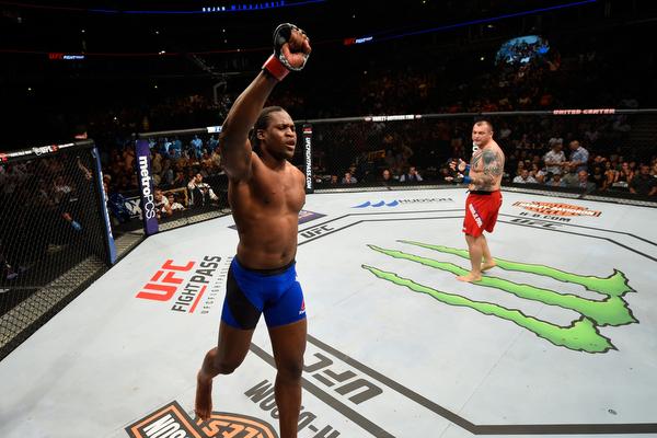 Francis Ngaannou celebrates after his win over <a href='../fighter/bojan-mihajlovic'>Bojan Mihajlovic</a> at Fight Night Chicago