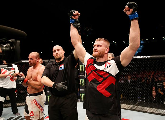 Jan Blachowicz celebrates his victory over <a href='../fighter/Igor-Pokrajac'>Igor Pokrajac</a> from their bout in April of 2016