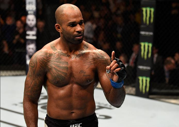 Jimi Manuwa celebrates after finishing Ovince Saint Preux at UFC 204