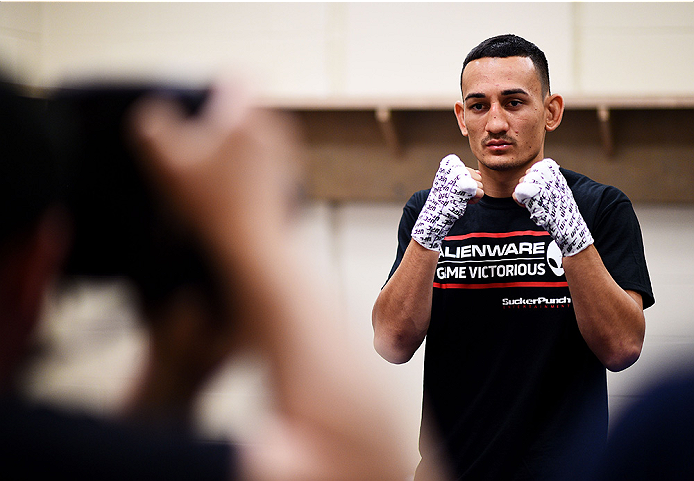 Max Holloway has his hands wrapped prior to his fight against Cub Swanson during the UFC Fight Night event on 4/18/15 in Newark, NJ. (Photo by Mike Roach/Zuffa LLC)