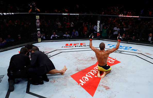Edson Barboza celebrates after his knockout victory over Beneil Dariush during the UFC Fight Night  on March 11, 2017 in Fortaleza, Brazil. (Photo by Buda Mendes/Zuffa LLC)