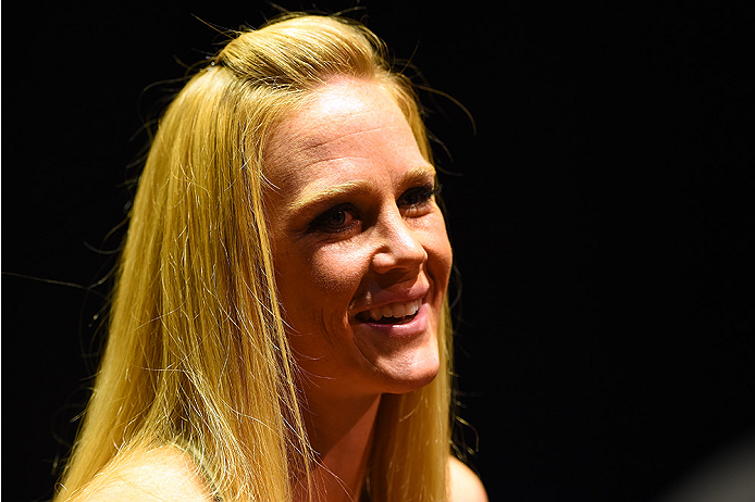 Holly Holm interacts with media during the UFC 184 Ultimate Media Day at Club Nokia on February 25, 2015 in Los Angeles, CA. (Photo by Josh Hedges/Zuffa LLC)