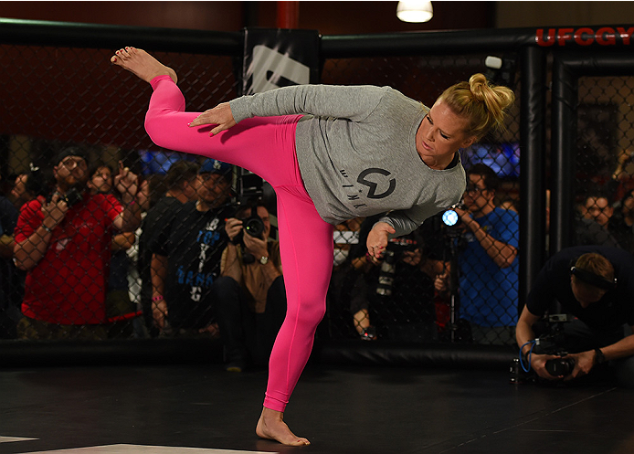 Holly Holm holds an open training session for fans and media at the UFC Gym on February 24, 2015 in Torrance, CA. (Photo by Josh Hedges/Zuffa LLC)