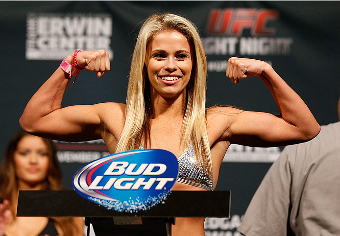 Paige VanZant weighs in during the UFC weigh-in at The Frank Erwin Center on November 21, 2014 in Austin, Texas. (Photo by Josh Hedges/Zuffa LLC/Zuffa LLC via Getty Images)