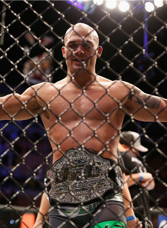 Robbie Lawler reacts to his victory over Johny Hendricks in their UFC welterweight championship bout during the UFC 181 event on December 6, 2014 in Las Vegas, NV. (Photo by Josh Hedges/Zuffa LLC)