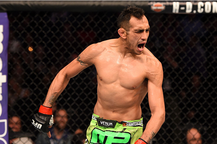 Tony Ferguson celebrates after defeating Gleison Tibau in their lightweight bout during the UFC 184 event at Staples Center on February 28, 2015 in Los Angeles, CA. (Photo by Josh Hedges/Zuffa LLC)