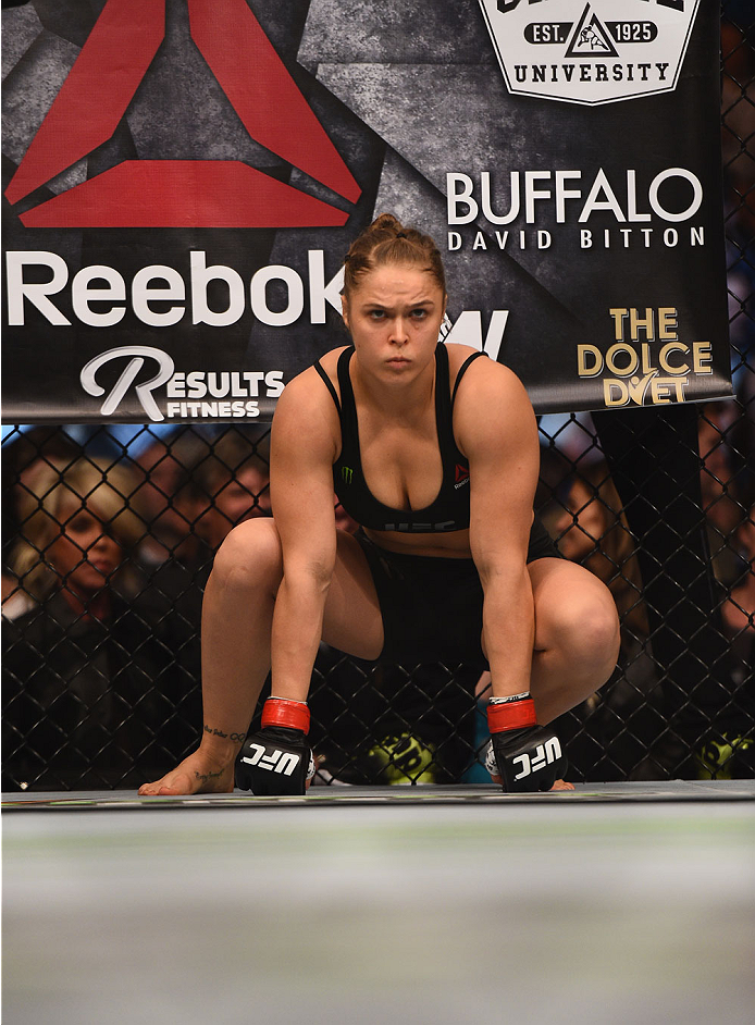 LOS ANGELES, CA - FEBRUARY 28: Ronda Rousey enters the Octagon in her UFC women's bantamweight championship bout against Cat Zingano during the UFC 184 event at Staples Center on February 28, 2015 in Los Angeles, California. (Photo by Harry How/Getty Images)