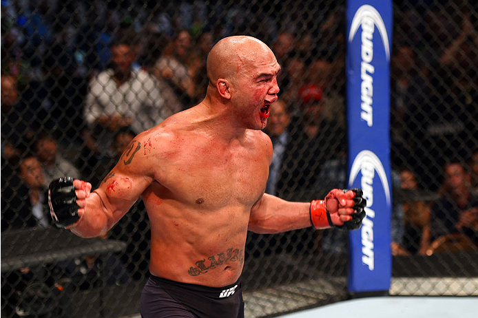 Robbie Lawler celebrates during his victory over <a href='../fighter/Rory-MacDonald'>Rory MacDonald</a> at UFC 189