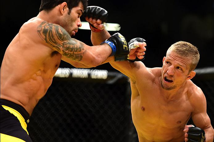 LAS VEGAS, NV - JULY 09: (R-L) TJ Dillashaw punches Raphael Assuncao of Brazil in their bantamweight bout at UFC 200. (Photo by Harry How/Zuffa LLC)