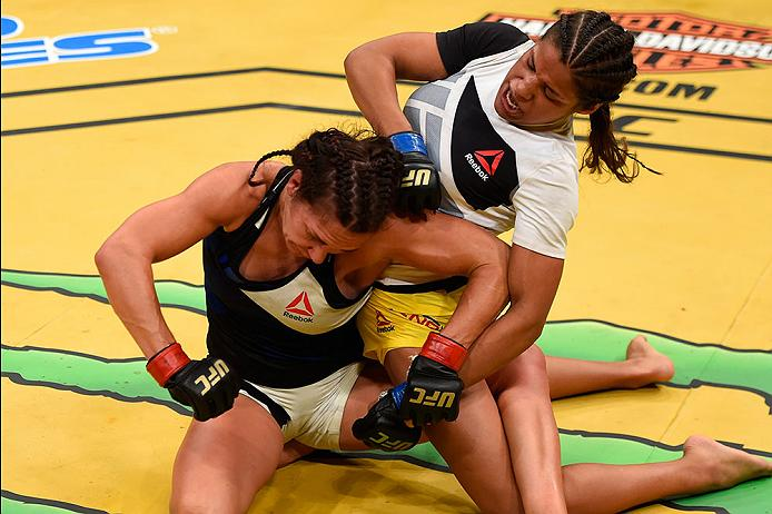 Pena punches <a href='../fighter/Cat-Zingano'>Cat Zingano</a> during their bout at UFC 200 in July of 2016