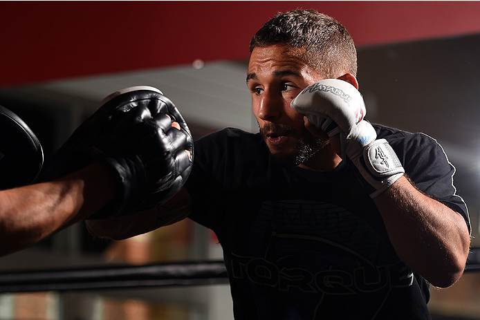 Chad Mendes holds an open training session for fans and media at the UFC Gym on April 2, 2015 in Fairfax, VA. (Photo by Josh Hedges/Zuffa LLC)