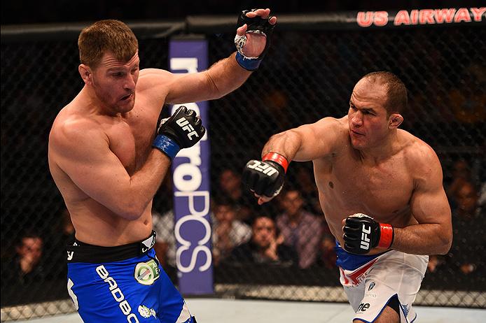 Junior Dos Santos punches Stipe Miocic in their heavyweight fight during the UFC Fight Night event in Phoenix, Arizona. (Josh Hedges/Zuffa LLC)