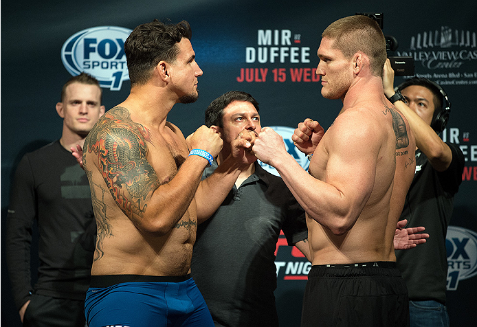 (L-R) Frank Mir and Todd Duffee face-off during the UFC weigh-in on July 14, 2015 in San Diego, CA. (Photo by Jeff Bottari/Zuffa LLC)