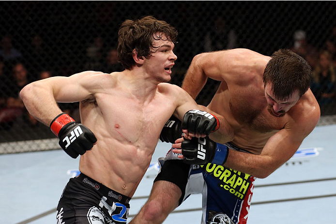 Olivier Aubin-Mercier punches Jake Lindsey in their welterweight bout on October 4, 2014 in Halifax, Nova Scotia, Canada. (Photo by Nick Laham/Zuffa LLC)