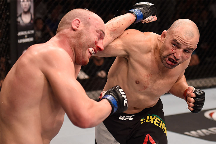<a href='../fighter/Glover-Teixeira'>Glover Teixeira</a> punches <a href='../fighter/Patrick-Cummins'>Patrick Cummins</a> during their bout in Sao Paulo in November, 2015