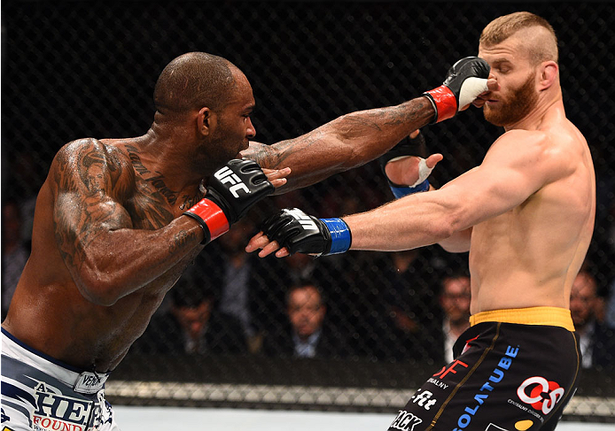 Jimi Manuwa punches Jan Blachowicz during the UFC Fight Night event on April 11, 2015 in Krakow, Poland. (Photo by Jeff Bottari/Zuffa LLC)