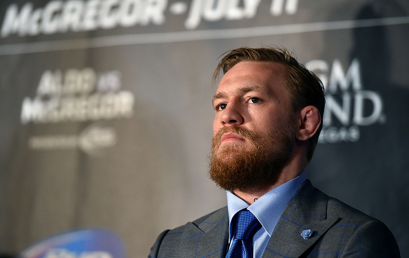UFC Featherweight Contender Conor McGregor looks on during the UFC 189 World Championship Press Tour on March 30, 2015 in London, England. (Photo by Tom Dulat/Zuffa LLC via Getty Images)