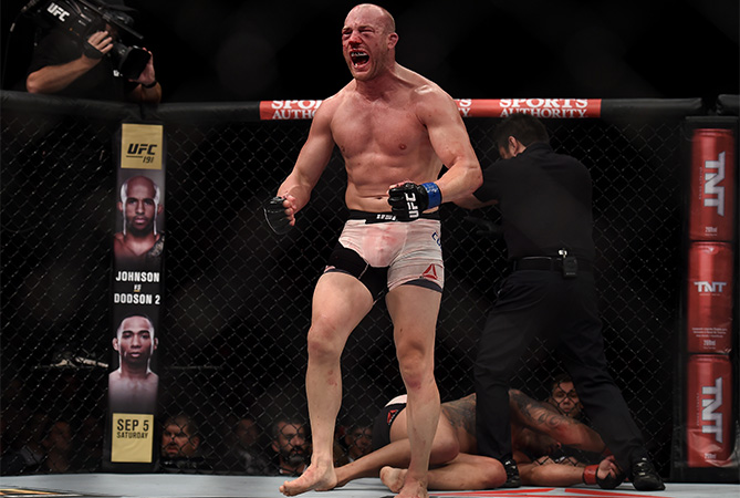 Patrick Cummins of the United States celebrates victory over Rafael Cavalcante of Brazil States in their light heavyweight bout during the UFC 190 Rousey v Correia at HSBC Arena on August 1, 2015 in Rio de Janeiro, Brazil. (Photo by Buda Mendes)