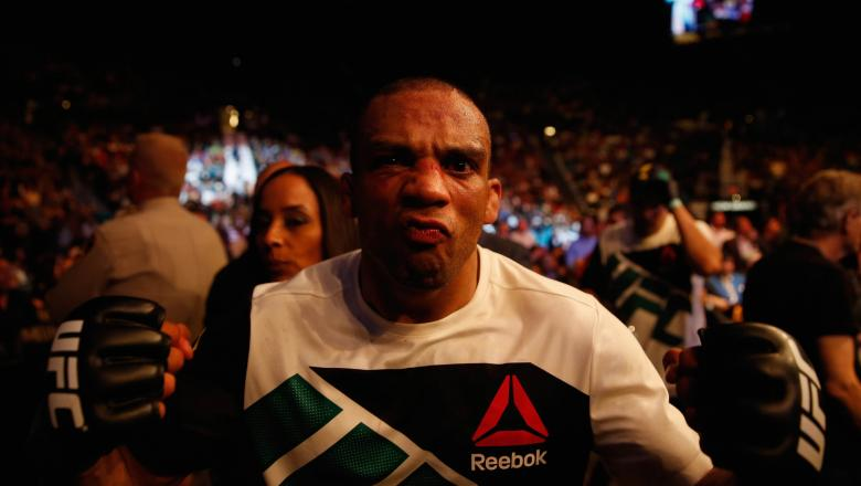 Edson Barboza exits the Octagon after his victory over Anthony Pettis in their lightweight bout during the UFC 197 event inside MGM Grand Garden Arena on April 23, 2016 in Las Vegas, Nevada. (Photo by Christian Petersen/Zuffa LLC/Zuffa LLC via Getty Images)