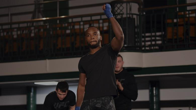 LONDON, ENGLAND - MARCH 13: Leon Edwards of England performs an open workout for fans and media during the UFC Fight Night Open Workouts event at York Hall on March 13, 2019 in London, England. (Photo by Jeff Bottari/Zuffa LLC/Zuffa LLC via Getty Images)