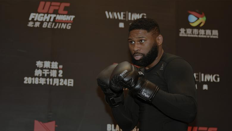 BEIJING, CHINA - NOVEMBER 22: Curtis Blaydes interacts with media during the UFC Fight Night Ultimate Media Day on November 22, 2018 in Beijing, China. (Photo by Jeff Bottari/Zuffa LLC/Zuffa LLC via Getty Images)