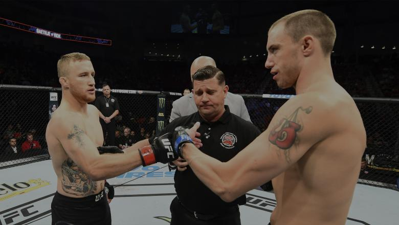 LINCOLN, NE - AUGUST 25: (L-R) Opponents Justin Gaethje and James Vick face off prior to their lightweight fight during the UFC Fight Night event at Pinnacle Bank Arena on August 25, 2018 in Lincoln, Nebraska. (Photo by Josh Hedges/Zuffa LLC/Zuffa LLC via Getty Images)