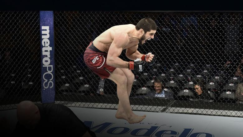 BOSTON, MA - JANUARY 20: Islam Makhachev of Russia celebrates after his knockout victory over Gleison Tibau of Brazil in their lightweight bout during the UFC 220 event at TD Garden on January 20, 2018 in Boston, Massachusetts. (Photo by Jeff Bottari/Zuffa LLC)