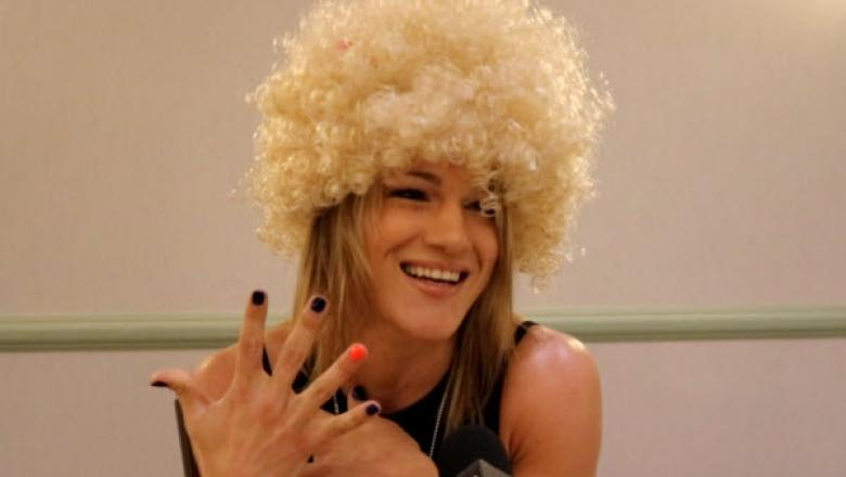 Felice Herrig wearing Khabib wig during UFC 229 interview on 10/3/18. (Photo by Steve Latrell/Zuffa LLC)