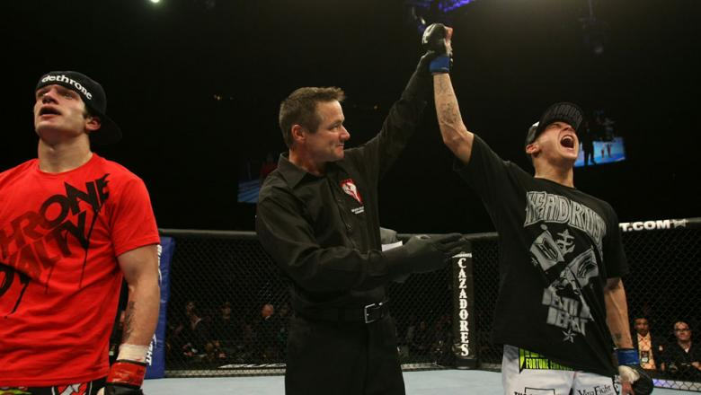 UFC 125: Dustin Poirier celebrates his victory.