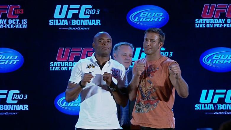 Anderson Silva and Stephan Bonnar happily face off for the crowd at the UFC 153 pre fight press conference in Brazil