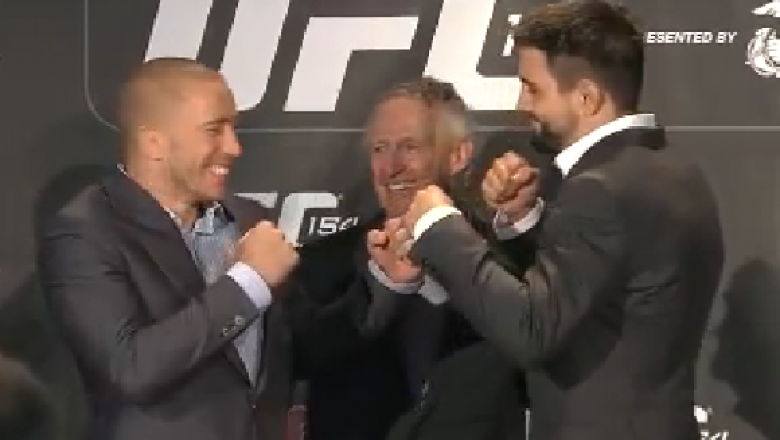 GSP, Condit, and Wright exchange laughs as they face of after the UFC 154 on sale press conference in Montreal.