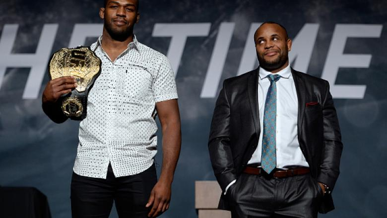 LAS VEGAS, NEVADA - NOVEMBER 17:  UFC light heavyweight champion Jon Jones (L) and challenger Daniel Cormier pose for the media during the UFC Time Is Now press conference at The Smith Center for the Performing Arts on November 17, 2014 in Las Vegas, Neva