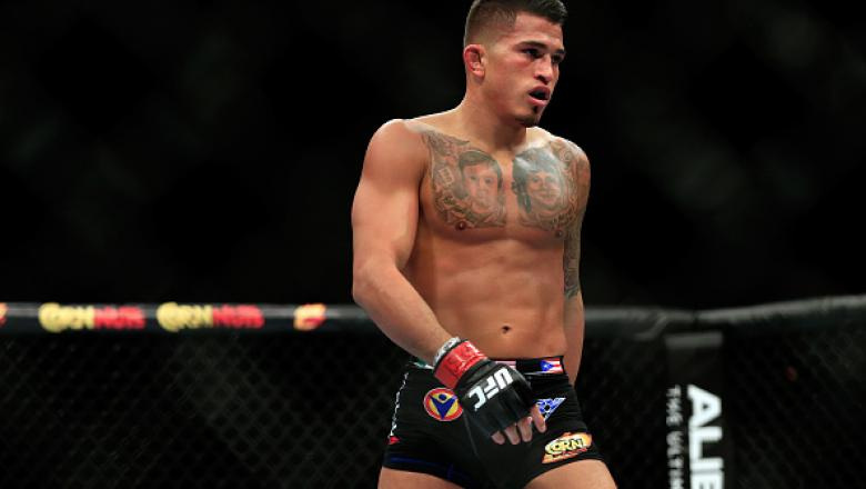 LAS VEGAS, NV - DECEMBER 06: Anthony Pettis looks on against Gilbert Menendez in their lightweight title fight during the UFC 181 event at the Mandalay Bay Events Center on December 6, 2014 in Las Vegas, Nevada.  (Photo by Alex Trautwig/Getty Images)